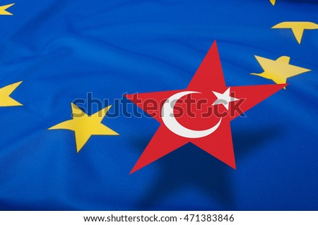 Turkey Accession - Closeup of Glossy Flag of European Union With Turkish Star  - Shallow Depth of Field