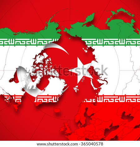 Turkey iran flag world map background stock illustration 365040578 turkey and iran flag and world map background gumiabroncs Images