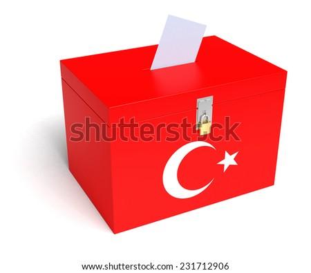 Turkey ballot box with Turkish Flag. Isolated on white background. - stock photo