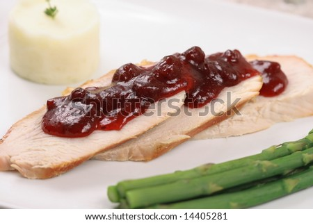 turkey breast with asparagus and cranberry sauce - stock photo