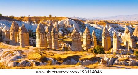 Turkey Cappadocia rock beautiful ancient stone landscape - stock photo