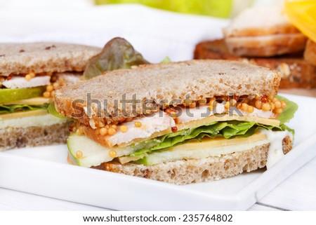 Turkey, cheddar, and green apple sandwich - stock photo