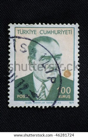 TURKEY - CIRCA 1971: A stamp printed in Turkey shows Mustafa Kemal Ataturk, circa 1971