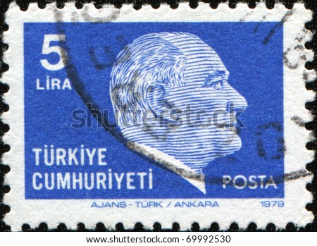 TURKEY - CIRCA 1981: A stamp printed in Turkey shows Mustafa Kemal Ataturk, circa 1981