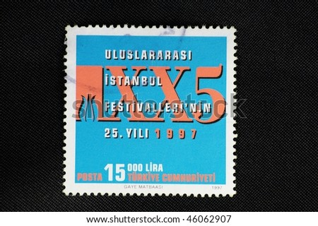 TURKEY - CIRCA 1997: A stamp printed in Turkey shows roman numerals, circa 1997