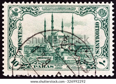 TURKEY - CIRCA 1913: A stamp printed in Turkey shows Selimiye Mosque, Edirne, circa 1913.  - stock photo