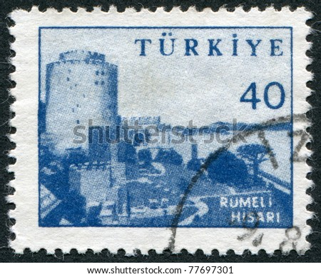 TURKEY - CIRCA 1959: Postage stamps printed in Turkey, depicts Rumelihisar? (Rumelian Castle), circa 1959 - stock photo