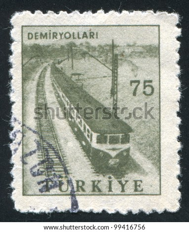 TURKEY - CIRCA 1959: stamp printed by Turkey, shows railway, circa 1959