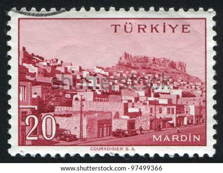 TURKEY - CIRCA 1959: stamp printed by Turkey, shows Turkish city, Mardin, circa 1959. - stock photo