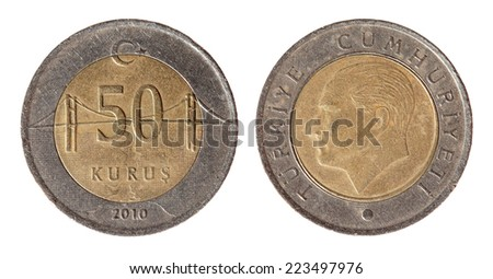 Turkey coin on the white background (2010 year). - stock photo
