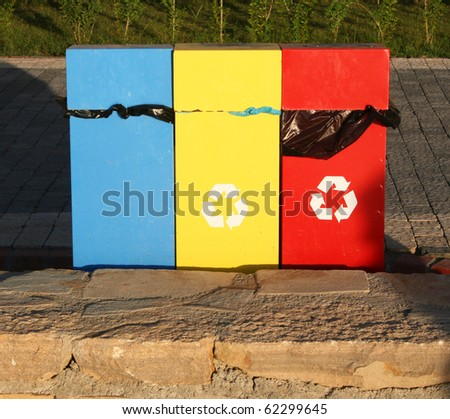 Turkey. Containers for recycling metal, plastic and glass - stock photo