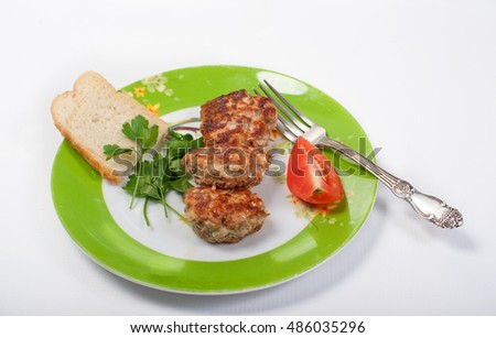 Turkey cutlets with garnish
