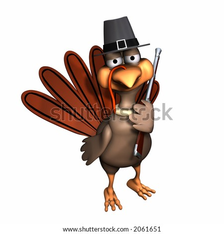 Turkey Dressed as a Pilgrim with Pilgrim Hat and Musket. Isolated on a white background