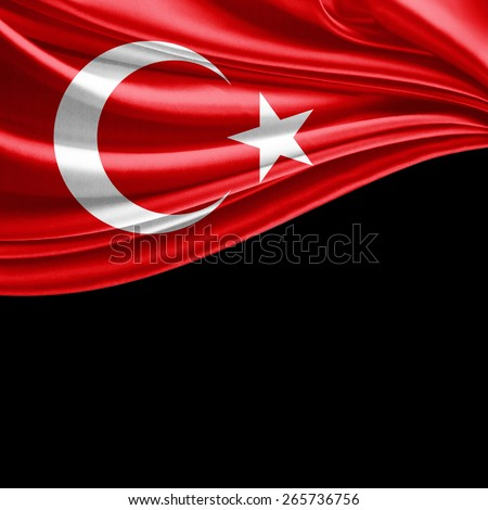 Turkey flag and black background