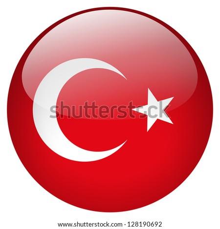 Turkey flag button - stock photo