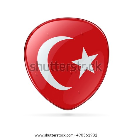 Turkey Flag Icon, isolated on white background.