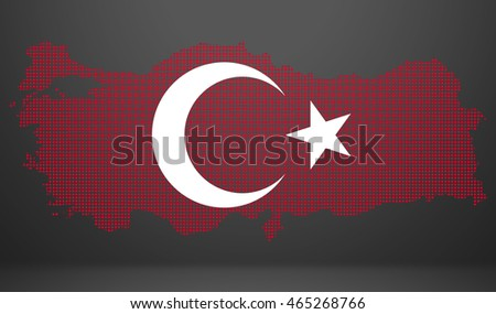 Turkey flag map in geometric,mosaic polygonal style.Abstract tessellation,background