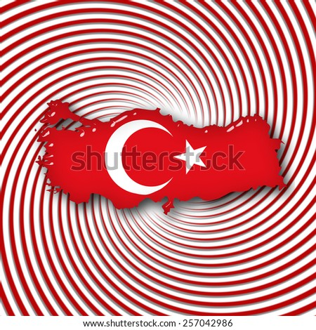 Turkey flag,map with red and white background