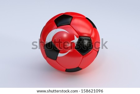 Turkey flag on soccer, football ball
