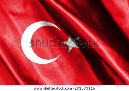 Turkey flag on soft and smooth silk texture