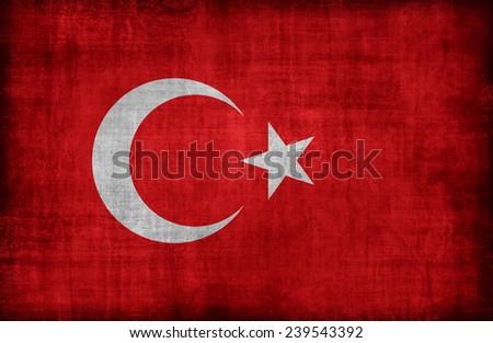 Turkey flag pattern  ,retro vintage style - stock photo