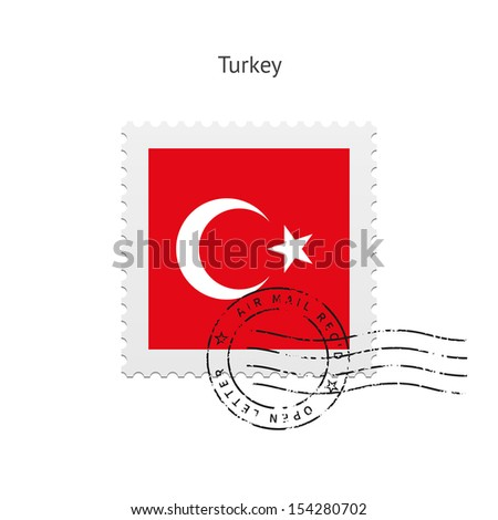 Turkey Flag Postage Stamp on white background. See also vector version.