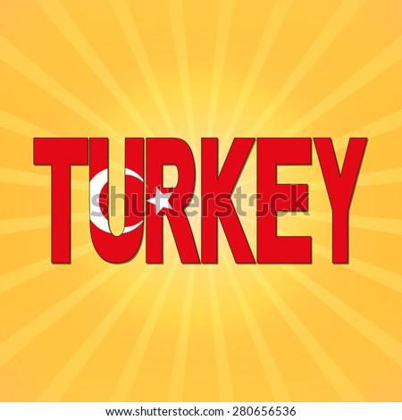 Turkey flag text with sunburst illustration - stock photo