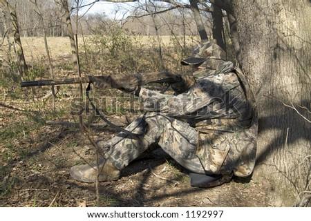 turkey hunter - left - stock photo
