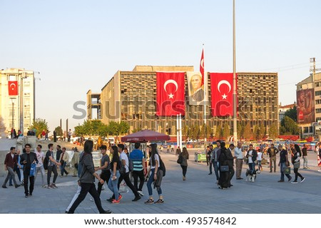 TURKEY, ISTANBUL - MAY 20, 2016: View of famous Taksim square in Istambul. Taksim is a main transportation hub and a popular destination tourists. Is also a favourite location for public events.