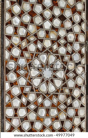 Turkey, Istanbul, Topkapi Palace, the Harem, closeup of a door decoration in one of the rooms (wood and mother of pearl) - stock photo