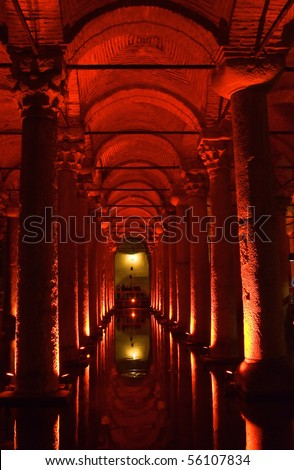 Turkey. Istanbul. Underground basilica cistern. Byzantine water reservoir build by Emperor Justinianus - stock photo