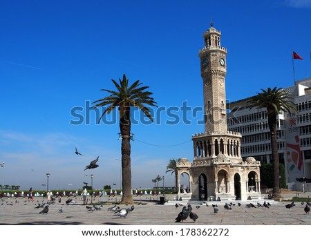TURKEY, IZMIR - April 28, 2013: Historical clock tower.  It was built in 1901, at Konak Square and accepted as the symbol of Izmir City.  - stock photo