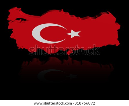 Turkey map flag with reflection illustration - stock photo