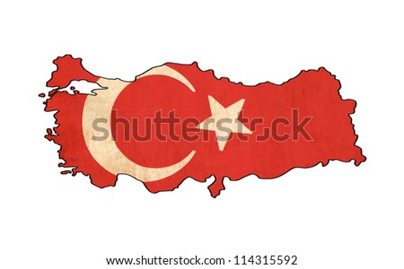 Turkey map on Turkey flag drawing ,grunge and retro flag series