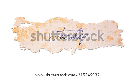Turkey - Old paper with handwriting, blue ink - stock photo