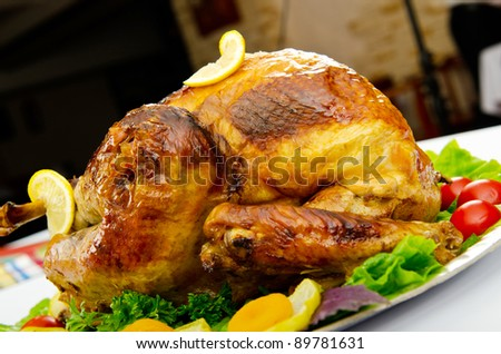 Turkey roasted and served in the plate
