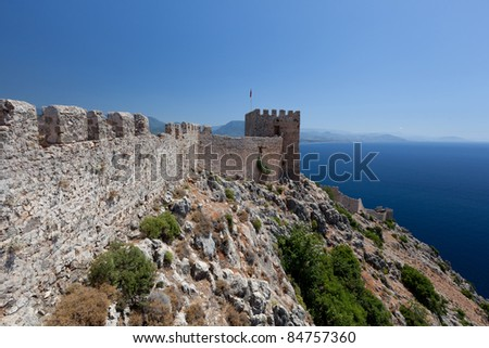 Turkey. Ruins of Ottoman fortress in Alanya - stock photo