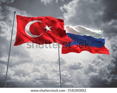 Turkey & Russia Flags are waving in the sky with dark clouds. - stock photo