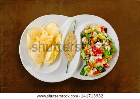 Turkey salad - isolated - stock photo