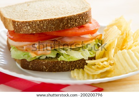 Turkey Sandwich - This is a shot of a delicious turkey sandwich, chips and an apple sitting on a wooden table. Shot with a shallow depth of field.  - stock photo