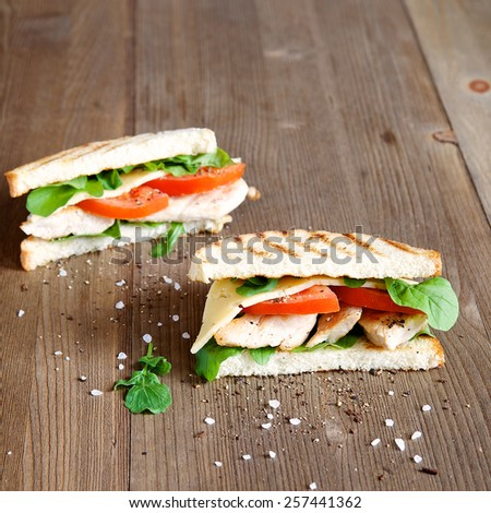 Turkey sandwich with vegetables and herbs