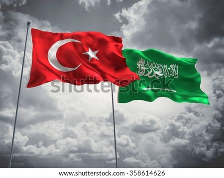 Turkey & Saudi Arabia Flags are waving in the sky with dark clouds. - stock photo