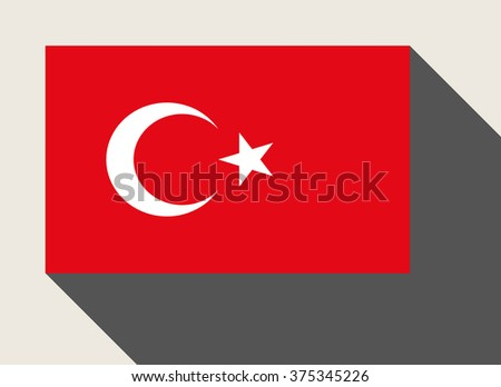 Turkey, Turkish, flag in flat web design style. - stock photo