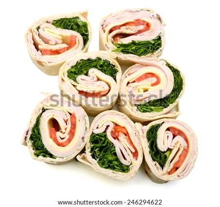Turkey wrapped sandwich - stock photo