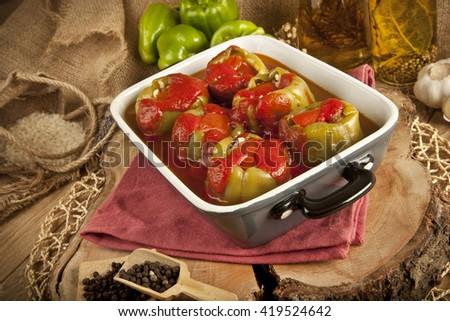 Turkish Asian traditional ramadan food Pepper stuffed with rice and minced meat biber dolma - stock photo