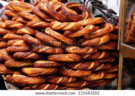 turkish bagel as a background - stock photo