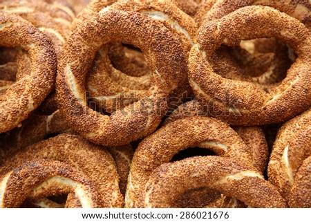 Turkish bagel bread called Simit in Istanbul. Turkey - stock photo