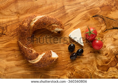 Turkish Bagel / Olive / Cheeese / Tomato - Simit