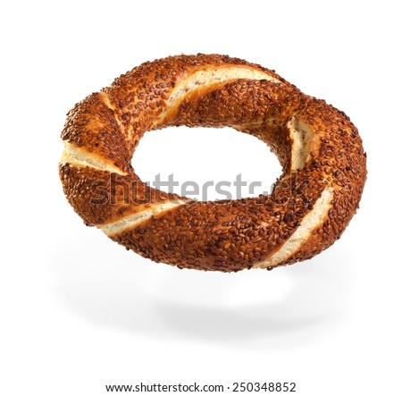 Turkish bagel (simit) on air - stock photo
