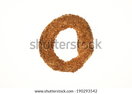 Turkish Bagel Simit with Sesame isolated white background